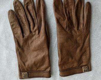 Anne Klein Brown Leather Gloves, Vintage, Size 7-1/2, Nylon lining
