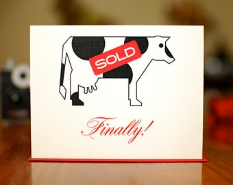 The Milk Ain't Free No More - Engagement Congrats Card on 100% Recycled Paper
