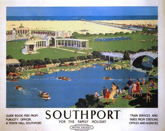 Vintage British Rail Southport Family Holidays Railway Poster A3/A2/A1 Print