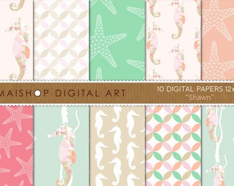 Geometric Digital Paper 'Shawn' Mint Green, Coral, Pink, Beige... Seahorse, Starfish and Curved Diamond Geometric Digital Patterns