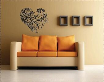 Vinyl Love Heart, Vinyl Wall Decal, Home Decor Decorative Wall Art
