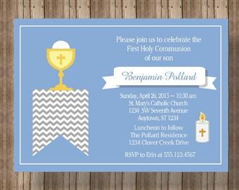 FIRST COMMUNION INVITATION for Boy / Boys Blue and White Invitation for First Holy Communion / Confirmation Invitation