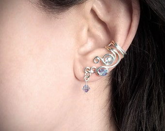 Silver Ear Cuff Swarovski Crystal Sparkle Silver plated Ear Wrap