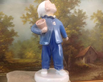 "Vintage Bing & Grondahl Figurine ""Who Is Calling?"" Boy with Pot"