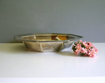 Vintage Silver Bowl Serving Tray Candy Dish Round