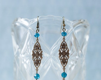 Vintage-style Victorian Earrings with Teal Swarovski Crystals