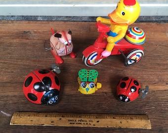 Lot of 5 Vintage Tin Windup Toys. 1960s/1970s Tin Toys
