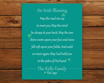 Irish Blessing Personalized Print - Teal St. Patrick's Day Wall Art - Wedding, Anniversary, or Housewarming Gift