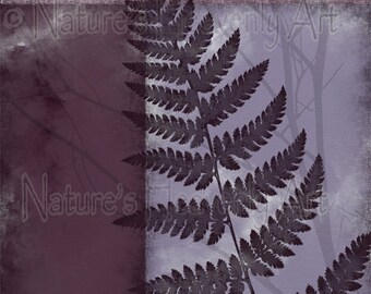 11 x 14 Botanical Wall Art, Fern Art Print, Mauve Wall Art, Burgundy Wall Decor, Purple Art for Home Decor, Nature Art (318)