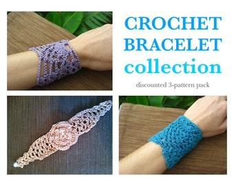 Set of 3 vintage crochet bracelet patterns // Crochet jewelry // Gifts for her // Bridesmaid gifts // Gifts for any season