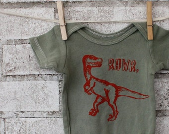 """Dinosaur """"RAWR"""" velociraptor Infant Creeper, Baby one piece cotton baby bodysuit in olive drab or custom colors"""