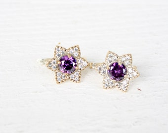 Vintage Sterling Silver Amethyst and White Sapphire Star/Flower Earrings