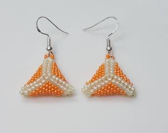 Geometric Earrings - Beaded Earrings - Triangle Earrings - Statement Earrings - Drop Earrings - Fashion Earrings - Bead Drop Earrings