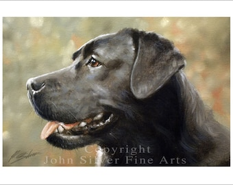 Black Labrador Dog Portrait by award winning artist JOHN SILVER. Personally signed A4 or A3 size Print. BL005SP