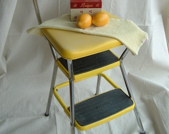 RESERVED for ISY80 - Vintage Lemon Yellow Cosco Kitchen Step Stool and Seat