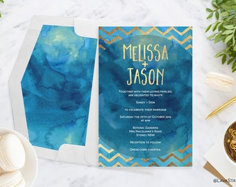 Melissa Suite : Printable Wedding Invitation, Blue & Gold, Custom, Digital Download, Gold Foil, Engagement, Chevron, Watercolour