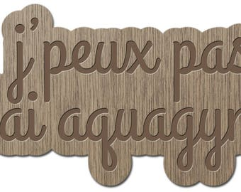 I can't I have Aqua - little words - laser cut wood - brooch