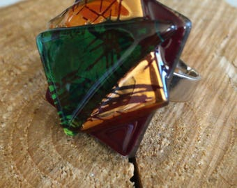 Handmade beautifull ring.Made of melted glass,fusing.Square multicolor ring.Adjustable.