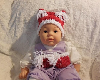 Crocheted Christmas Baby Hat with Matching Booties