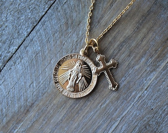Virgin Mary-Miraculous medallion-cross gold filled on sterling silver necklace