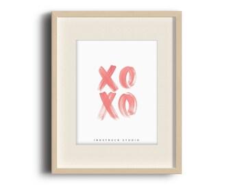 XO art print > love print > valentine's day print > modern love art > minimal art print >  xo typography print >DIGITAL PRINT