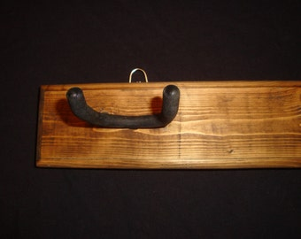 Double Acoustic or Electric Guitar Hanging Hooks- Dark Walnut Stain