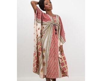Vintage Caftan / Block print cotton India style dress / Dashiki S M L