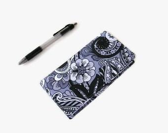 Black Gray Checkbook Cover - Coupon Holder - Fabric Checkbook Holder - Purse Accessory Organizer
