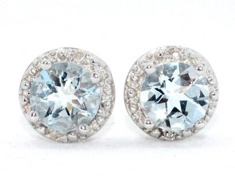 2 Ct Natural Aquamarine & Diamond Round Stud Earrings .925 Sterling Silver Rhodium Finish White Gold Quality