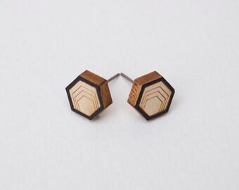 Hexagon Stud Earrings, Hexagon Earrings, Wood Earrings, small stud Earrings, Wood Studs, minimalist earrings, men's studs, men's earrings