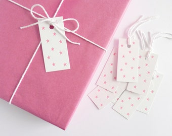 Pink Stars – Letterpress Gift Tags