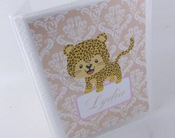 Girl Photo Album, Cheetah leopard damask, baby shower gift, 4x6 or 5x7 photo album- personalized grandmas brag book- 480