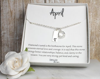 April Birthstone Personalized Silver Necklace, Crystal Silver Necklace, April Birthday Jewelry, April Birthday Gift
