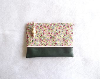 Pouch or makeup Emy pink and green flowers