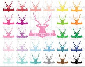 Deer Clipart Deer Clip Art Rainbow Color Deer Head Scrapbooking Life Planner Sticker Clipart Antlers Clipart Wedding Invitations Clipart