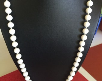 Monet Long White Glass Bead Necklace