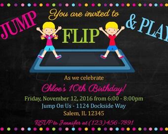 Trampoline Birthday Invitation -  (Digital File) - Trampoline Invitation - Trampoline Party - Jump Invitation