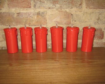 Set of 6 floating red LED tea light cardboard candles