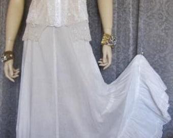 1900s Edwardian Lightweight Cotton Full Petticoat, Slip, Skirt, Ruffled Flounce, Bridal, Wedding