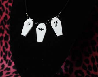 Acrylic 3x coffin necklace
