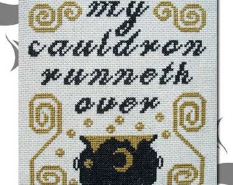 PDF E pattern emailed Halloween Witch Wicca Cross Stitch Pattern Sampler 76