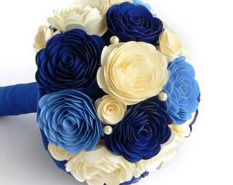 Blue and Ivory Wedding Bouquet, Blue Wedding Bouquet, Ivory Wedding Bouquet, Blue Bridal Bouquet, Ivory Bridal Bouquet, Blue Bouquet