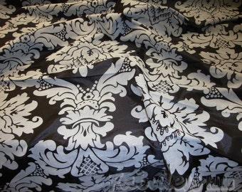 Black Taffeta Gray Flocking Damask fabric per yard