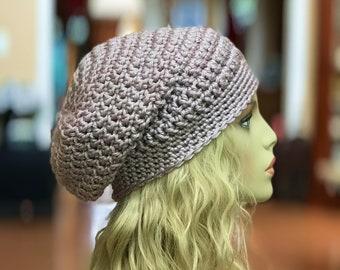 Beige Slouchy Crochet Hat