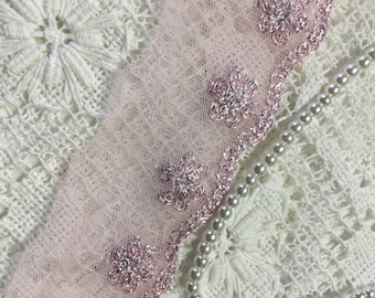 2 yard  PINK  VINTAGE  LACE   - with Iridescent Tread
