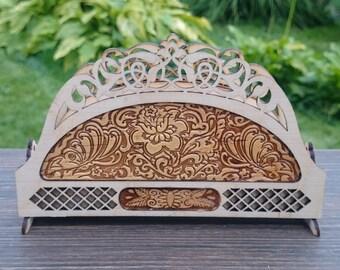 housewarming gifts, Wooden napkin holder, Kitchen Decor, Serviette napkin sculpture, Wood Art, Rustic Kitchen, Wooden Decor, Gift For Mum