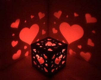 Heart Night Light, Hearts Wooden Box Light - LED Electric Candle, For Her, For Him, Nursery, NightLight, Gift, Princess