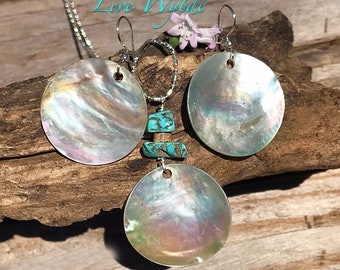 Beautiful Mother of Pearl Necklace and Earrings with Turquoise and Snakeskin Jasper