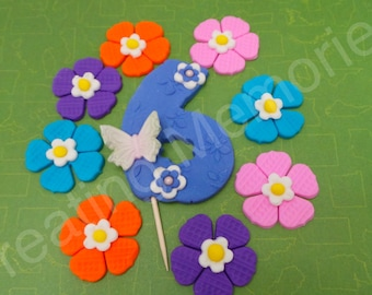 FONDANT COLORFUL FLOWERS - Edible Colored Flowers and Number. Perfect for cupcakes and cakes. Number ready for childs age