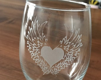 Custom Etched Beer Stein Glass Mug: One Side